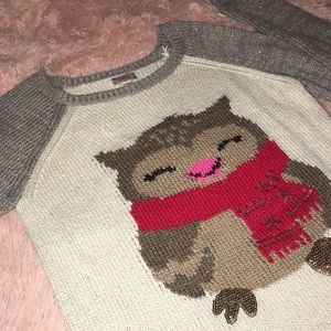 Justice Shirts & Tops - Cute Owl Print Two Tone Sweater